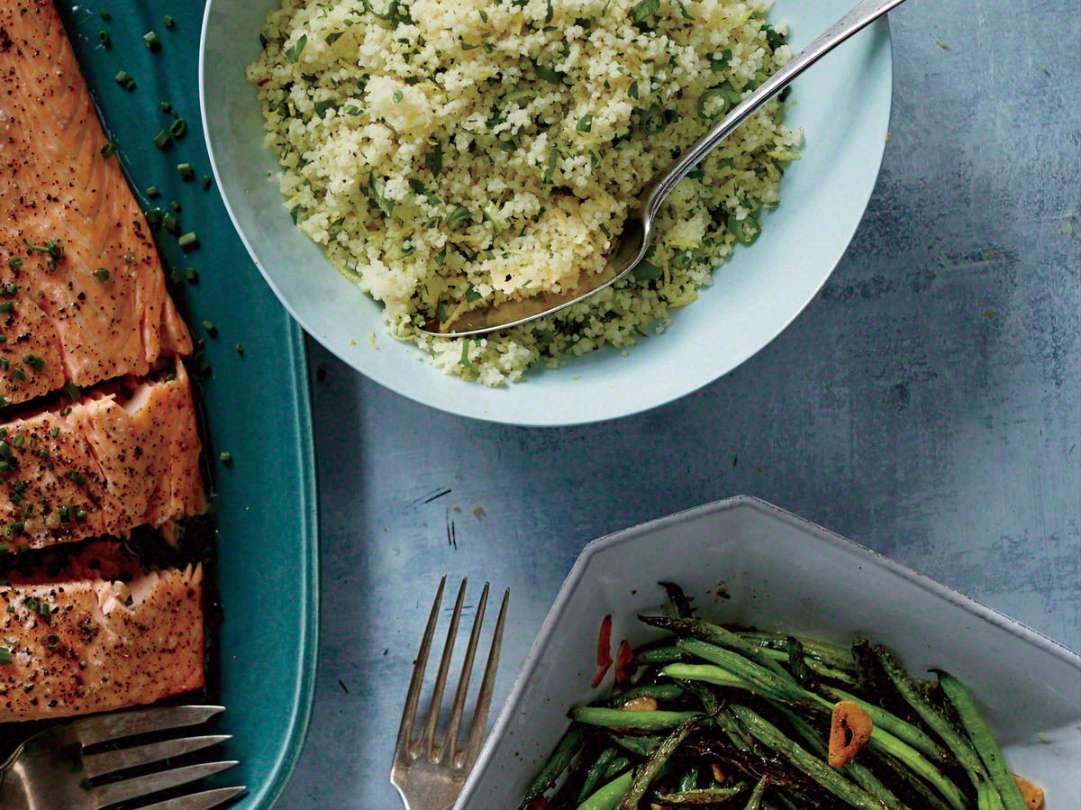 Seafood Feast Menu: Serve with Lemon Couscous and Garlicky Haricots Verts