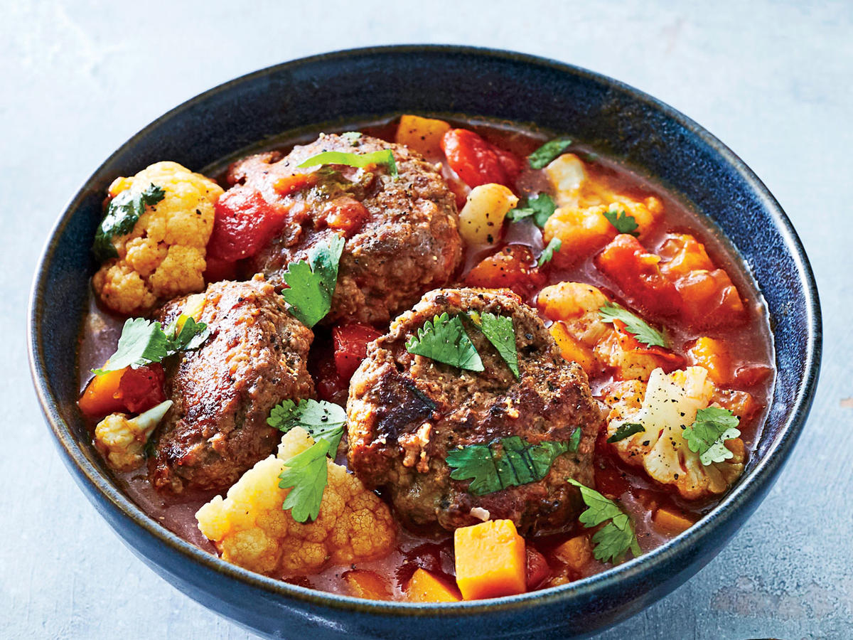 1701 Spiced Meatball, Butternut, and Tomato Stew
