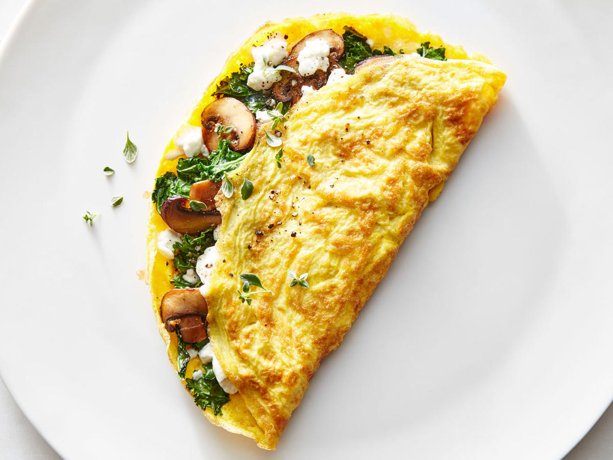 Monday: Half-Moon Browned Omelet + Spinach Salad