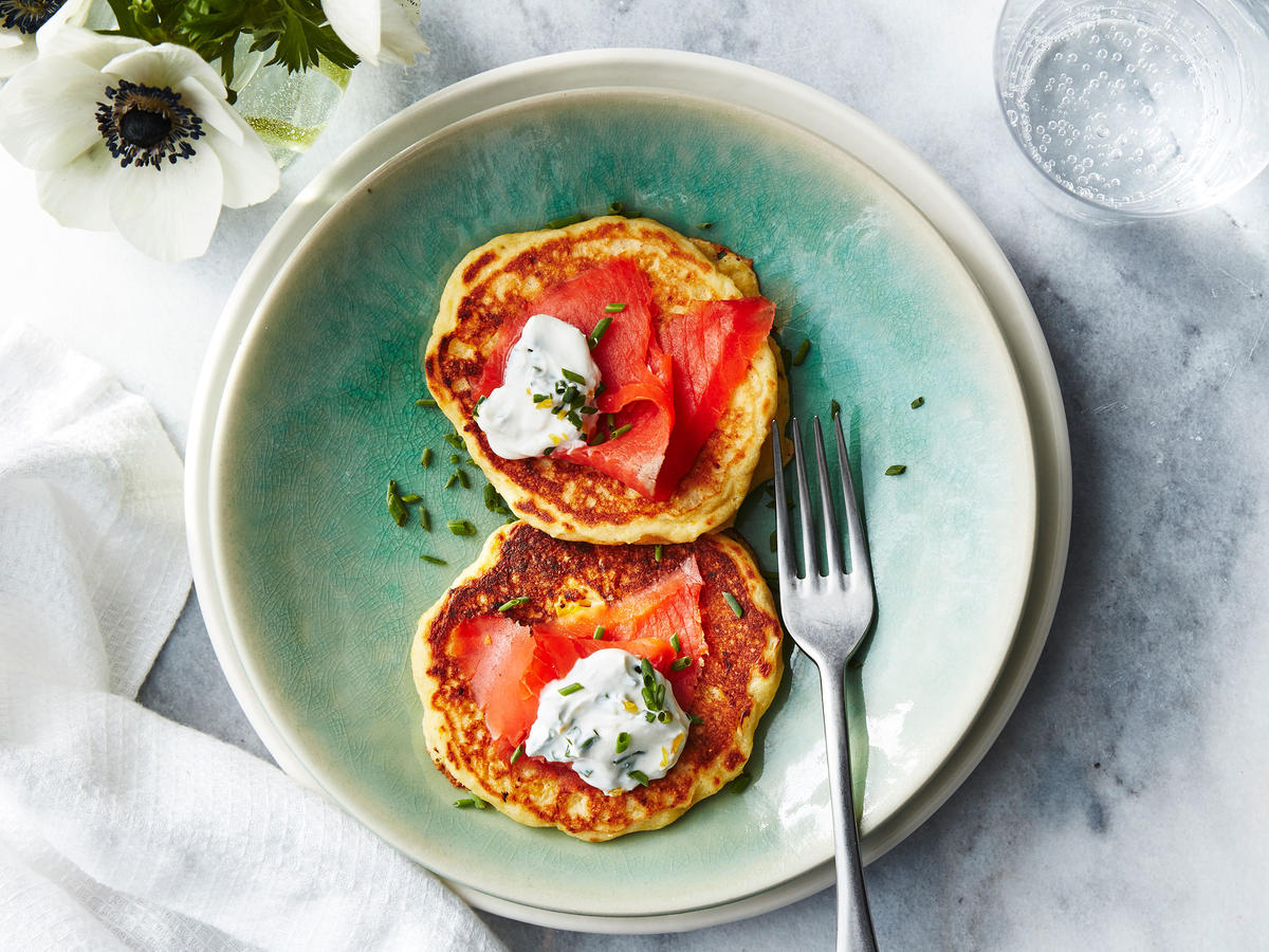 Corn Pancakes with Smoked Salmon and Lemon-Chive Cream