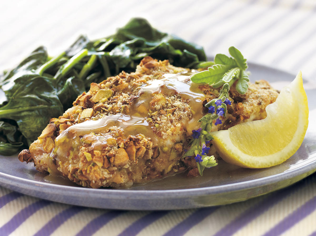 1304 Pistachio-Crusted Grouper with Lavender Honey Sauce