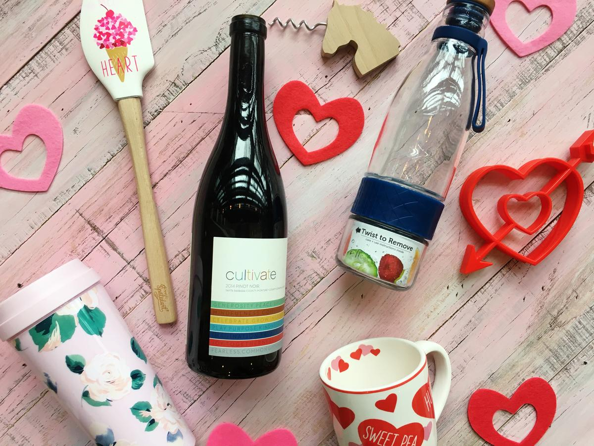 Valentine's Day Wine and Water Bottles