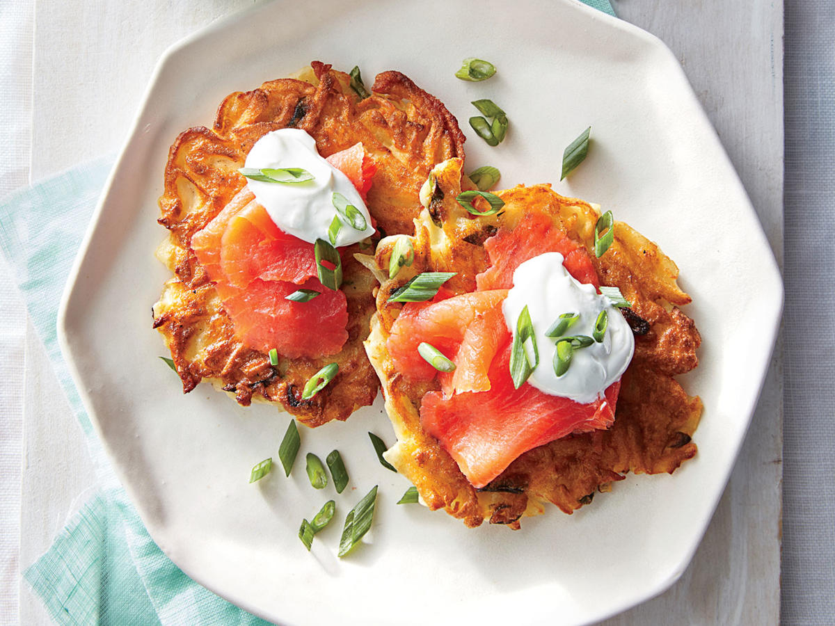 Crispy Potato Cakes with Smoked Salmon