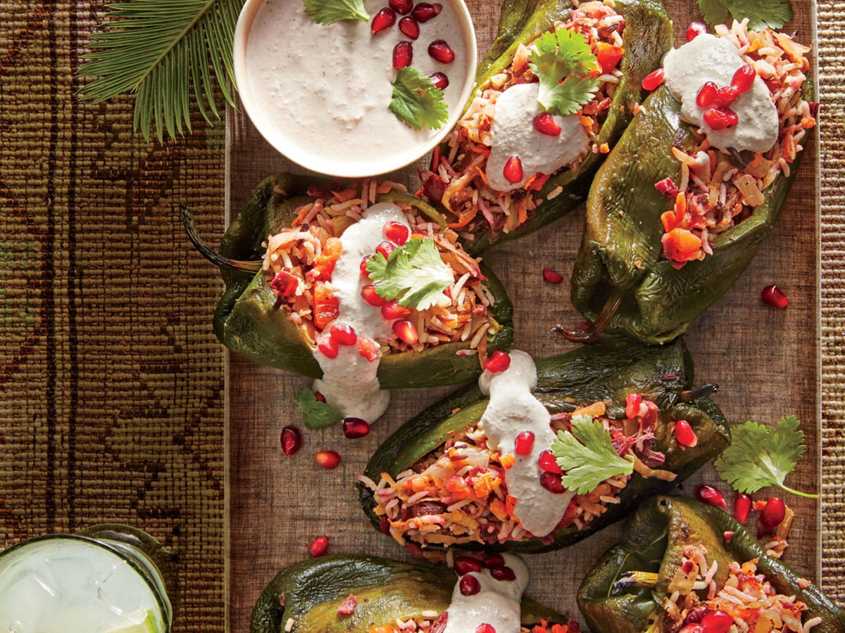 Hibiscus-Stuffed Chiles with Walnut Sauce