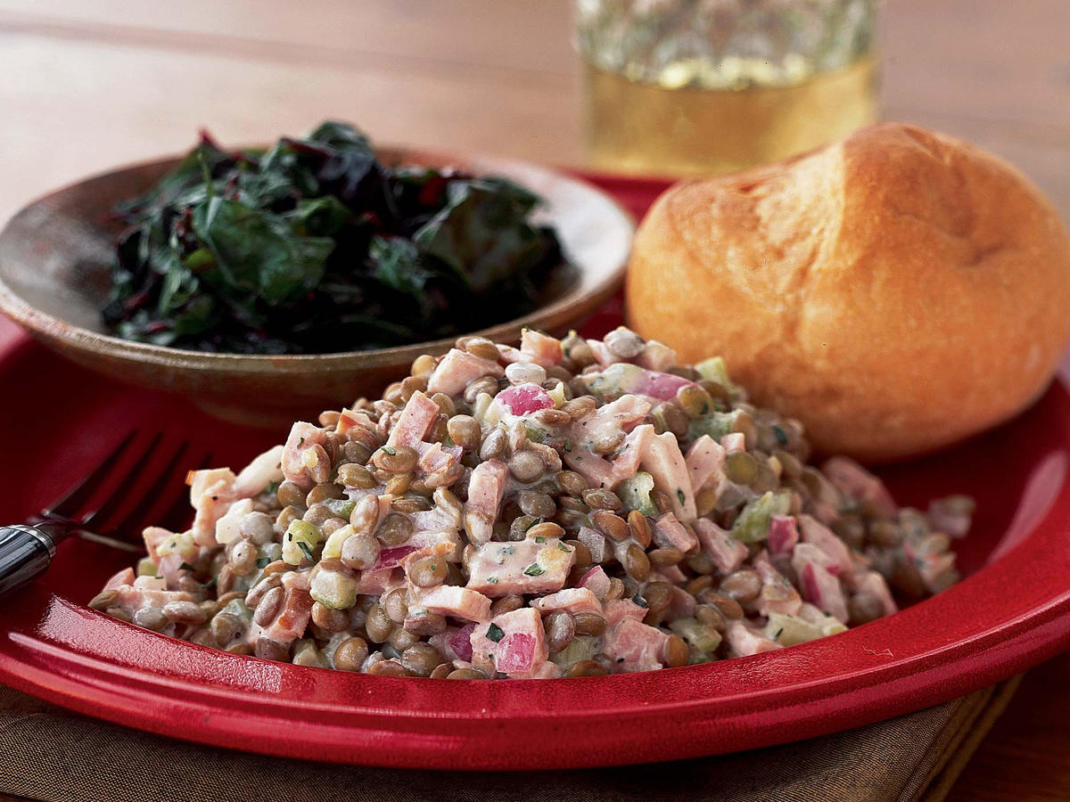 1508 Warm Lentil-Ham Salad with Dijon Cream