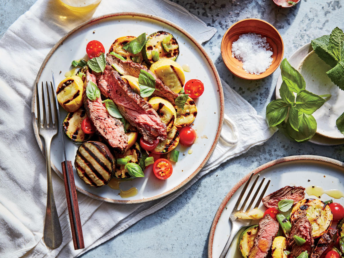 Grass-Fed Flat Iron Steak with Grilled Ratatouille