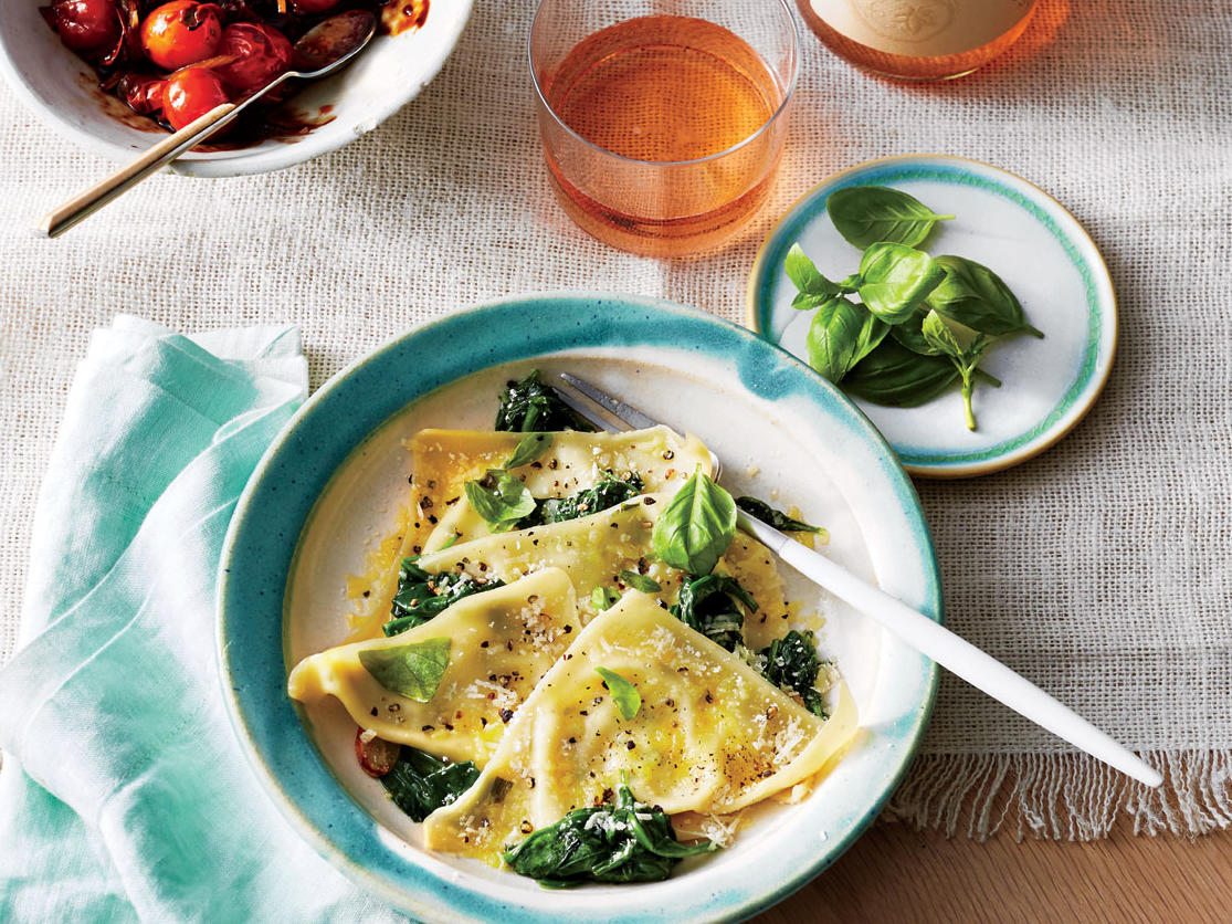 Basil-Ricotta Ravioli with Spinach
