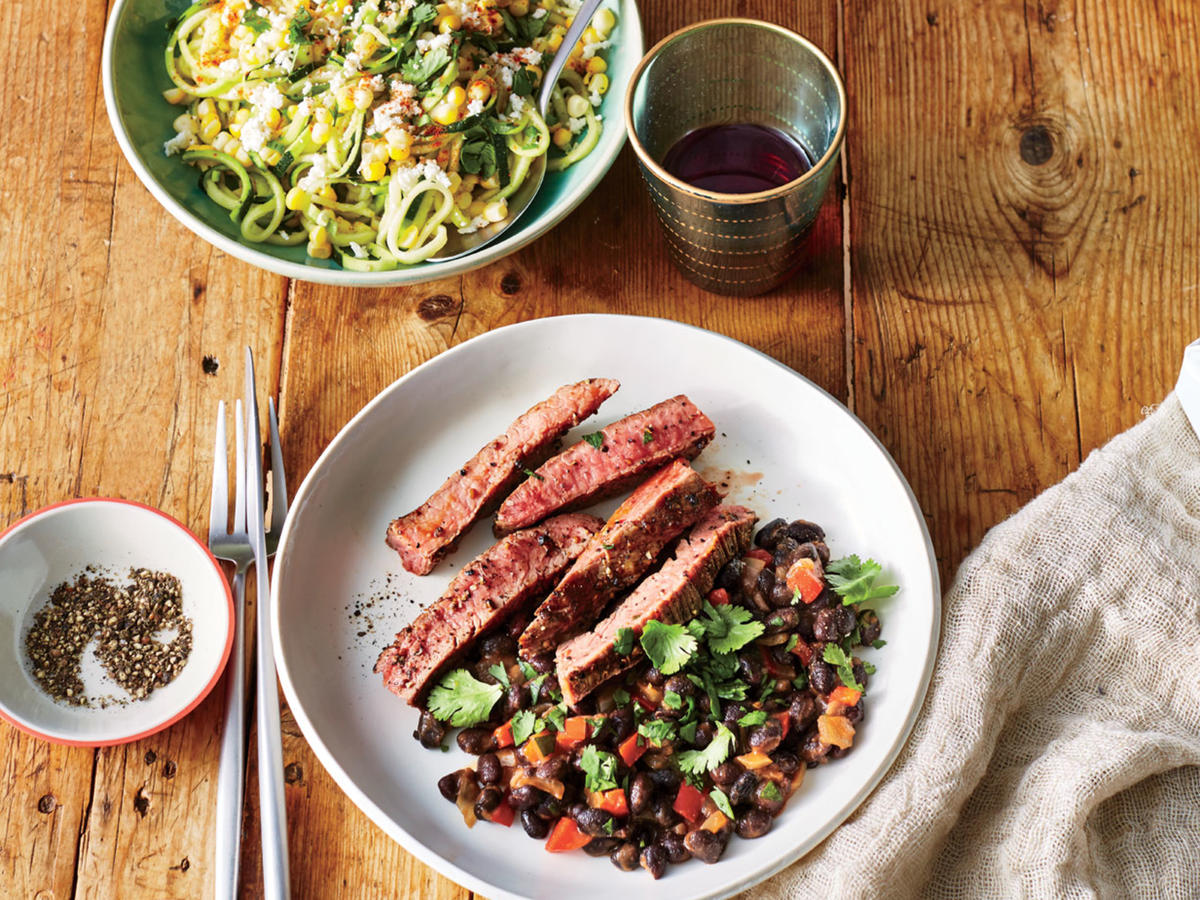 Coriander-Crusted Flank Steak with Cuban Black Beans