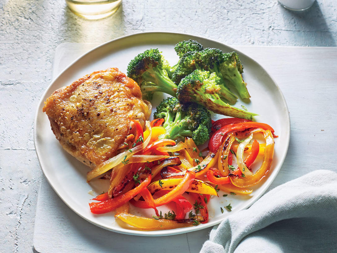 Chicken Thighs with Peperonata and Roasted Broccoli