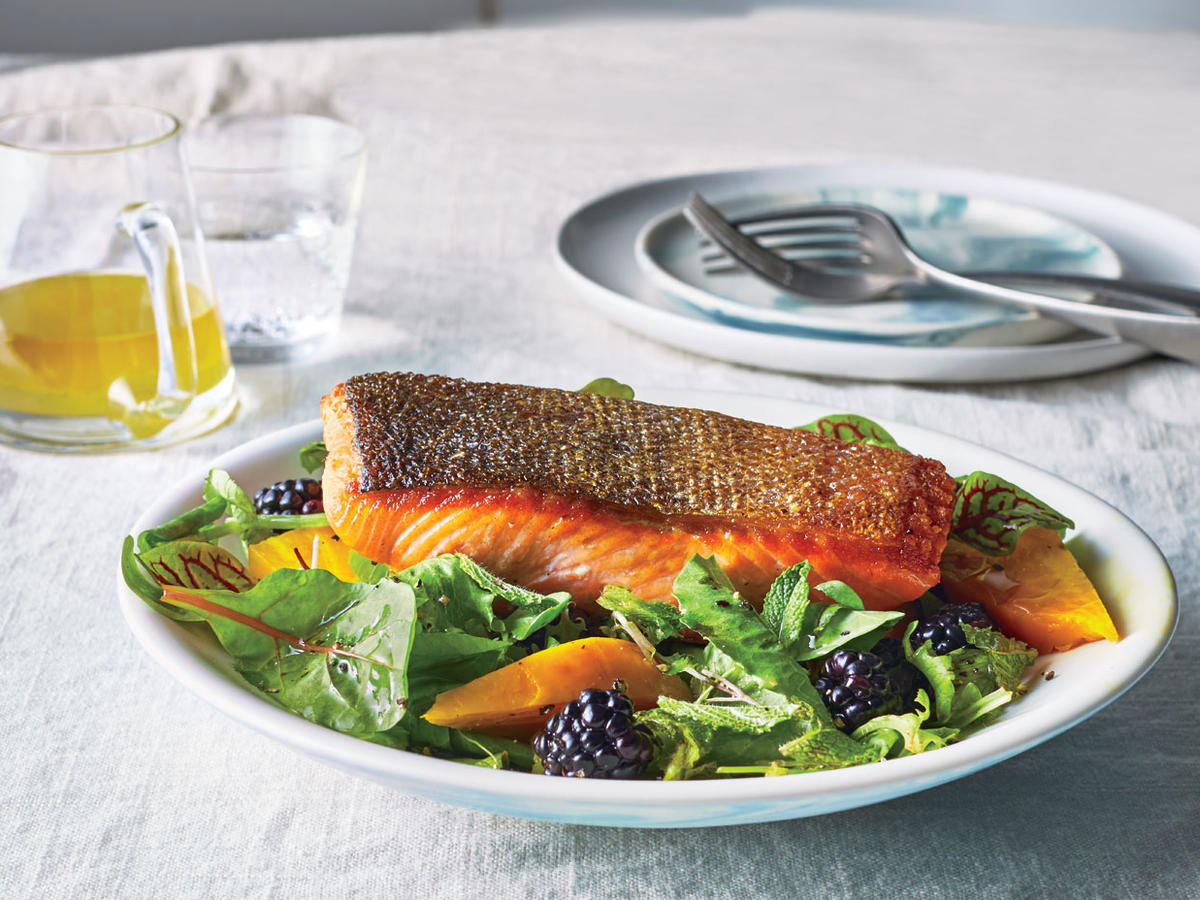 Seared Salmon Salad with Beets and Blackberries
