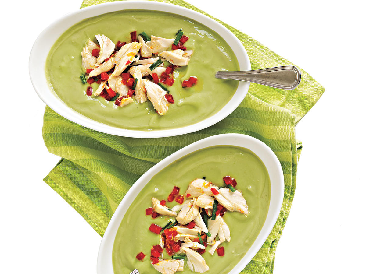 Healthy Avocado-Buttermilk Soup with Crab Salad Recipe