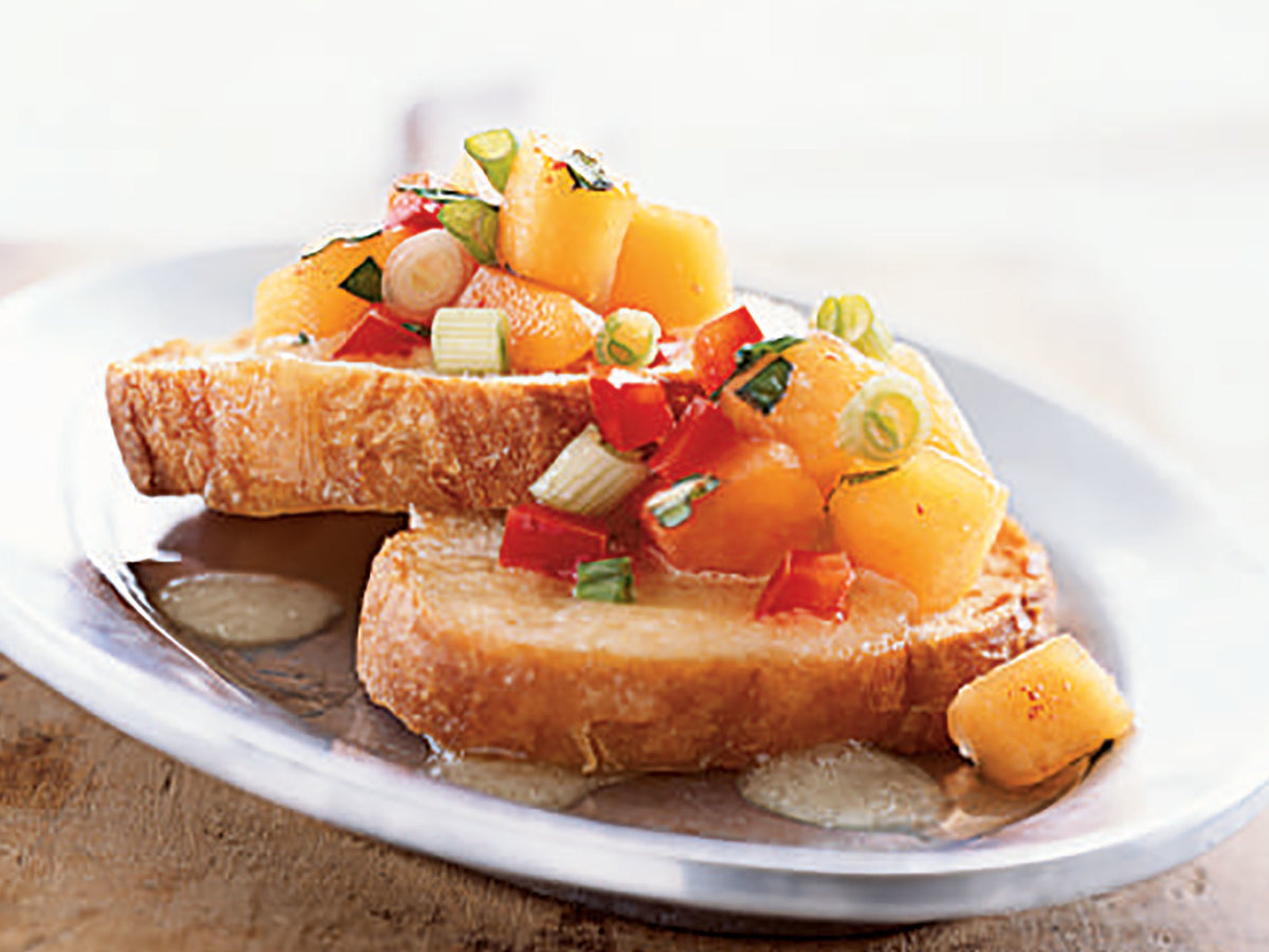 Bruschetta with Peach Salsa and Melted Brie