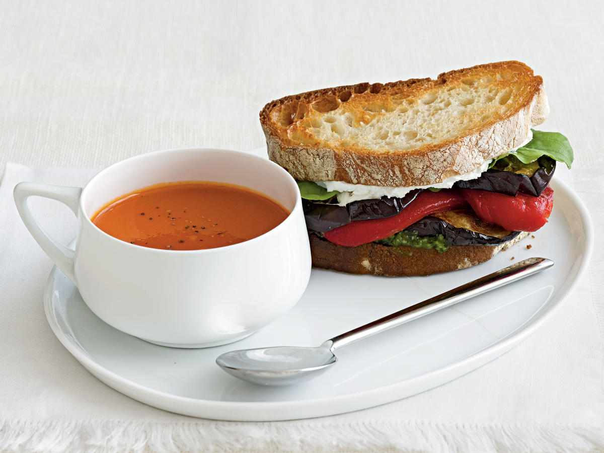 Vegetarian Dinner Recipe: Eggplant and Goat Cheese Sandwiches with Tomato-Parmesan Soup