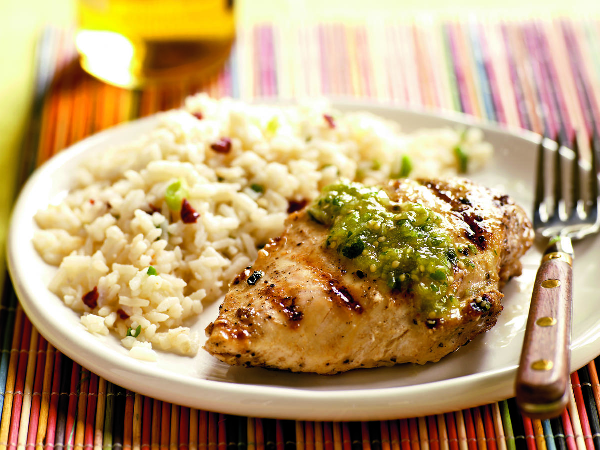 Grilled Cumin Chicken with Fresh Tomatillo Sauce Recipes