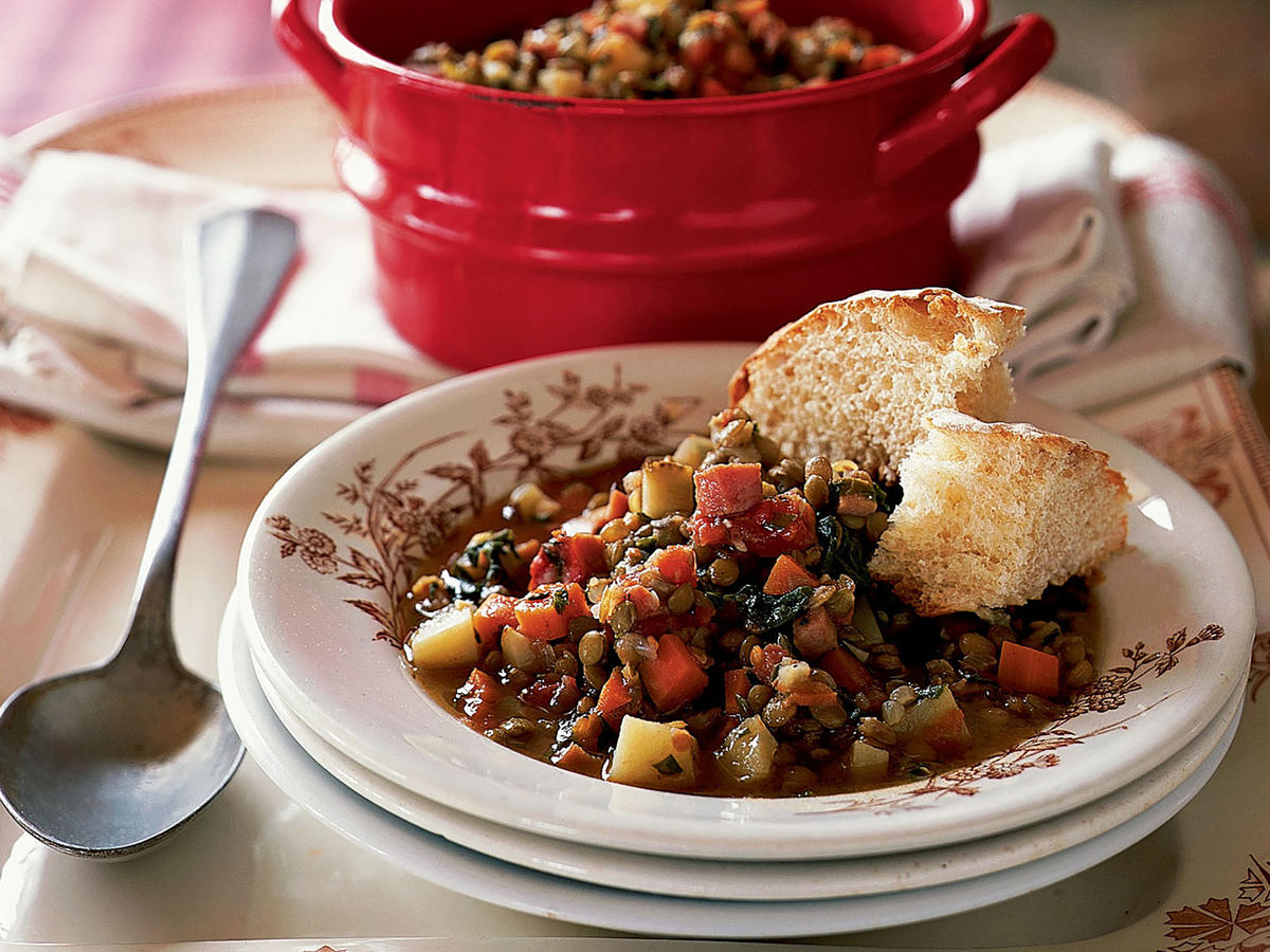Healthy Lentil Stew with Ham and Greens Recipe