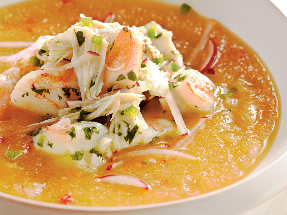 Healthy Golden Peach Soup with Shrimp and Crab Seviche Recipe