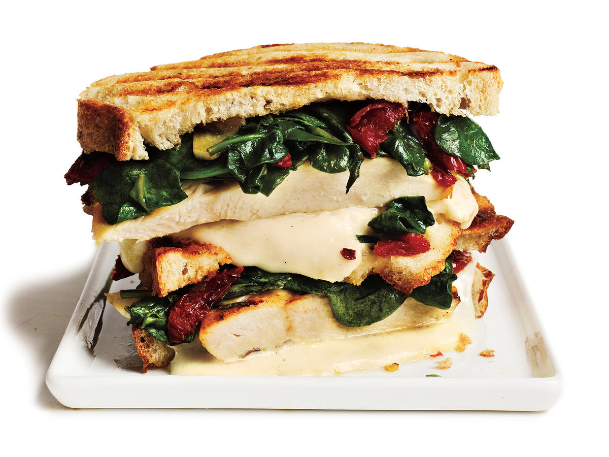 Rosemary-Chicken Panini with Spinach and Sun-Dried Tomatoes