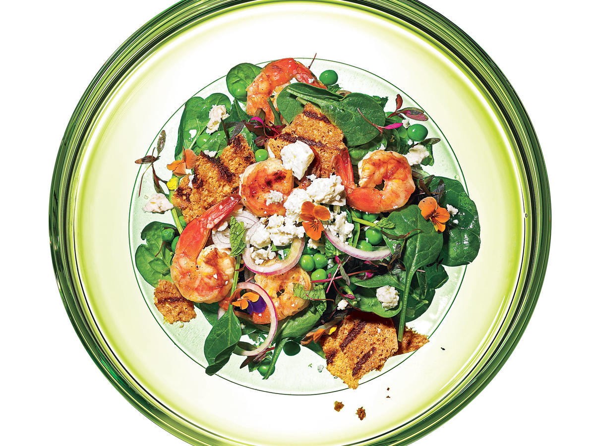 Spinach-Pea Salad with Grilled Shrimp Recipe