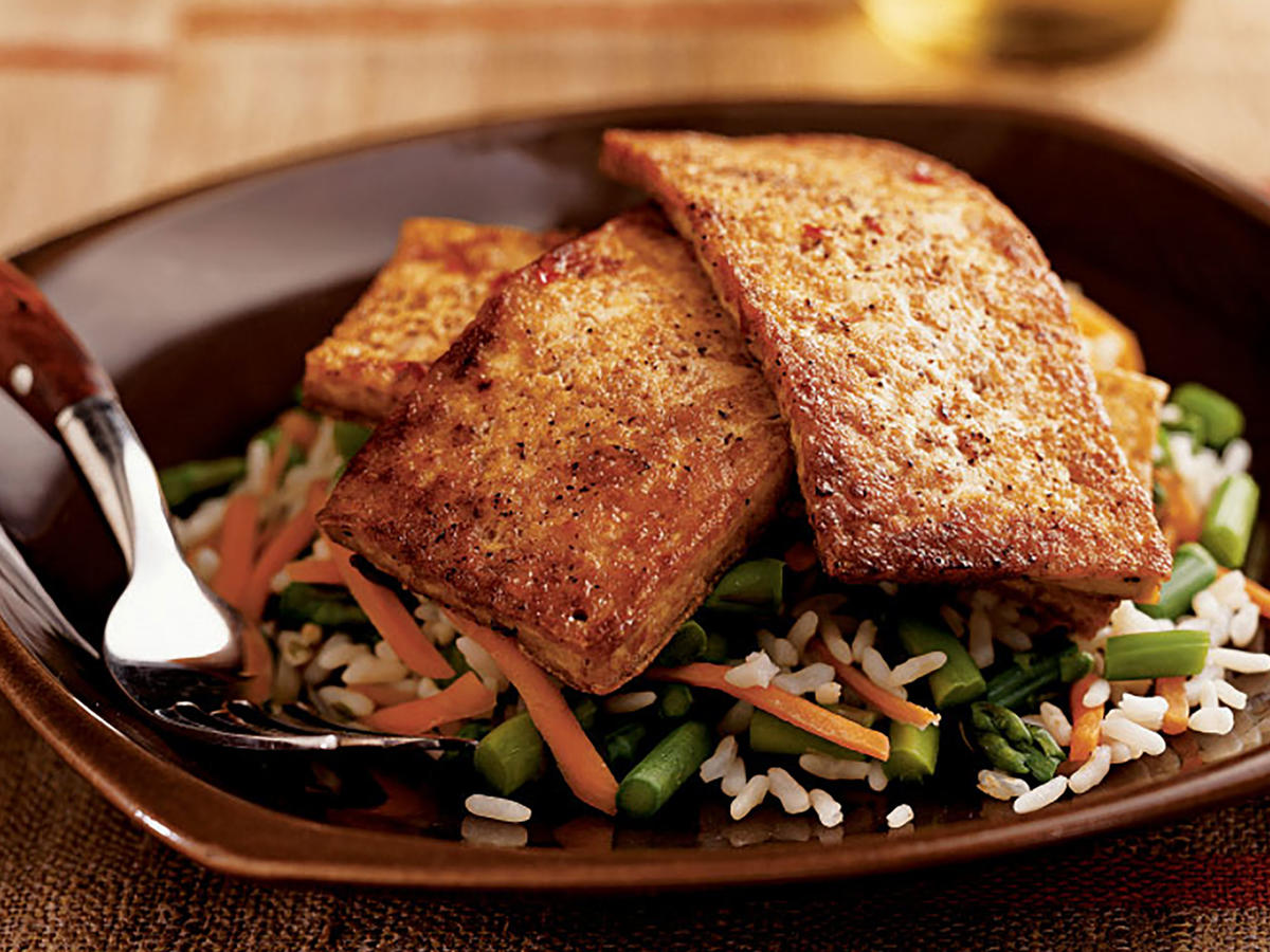 Chili-Glazed Tofu over Asparagus and Rice