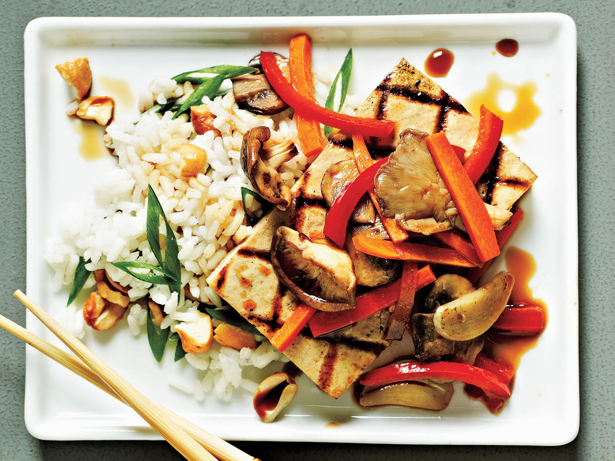 Tofu Steaks with Shiitakes and Veggies Recipe