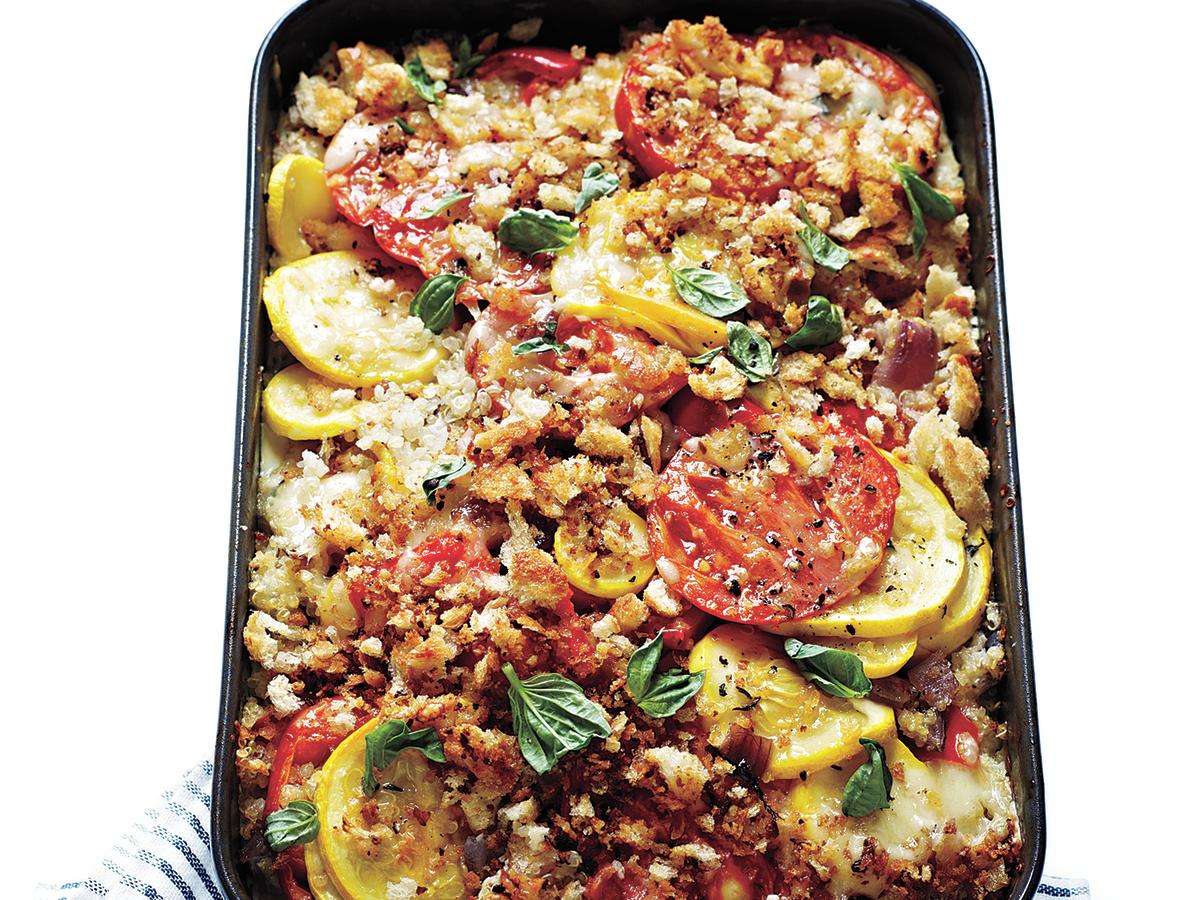 Tomato, Squash, and Red Pepper Gratin