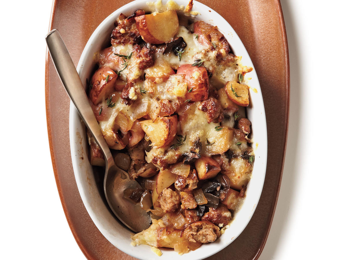Turkey Sausage, Mushroom, and Potato Gratin Budget Cooking Recipe
