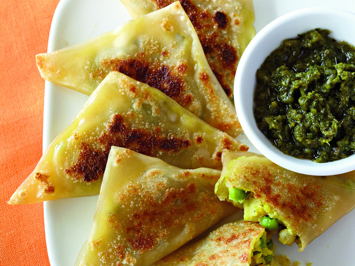 Curried Vegetable Samosas with Cilantro-Mint Chutney