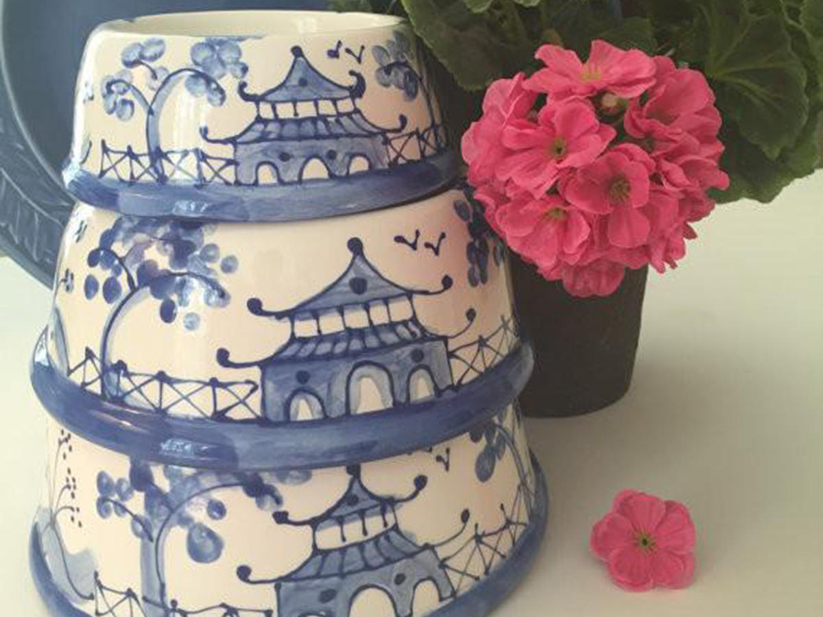 Blue Chinoiserie Dog Bowl
