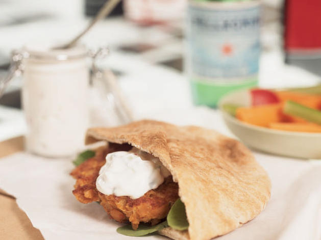 Falafel Pitas with Cucumber-Yogurt Dressing