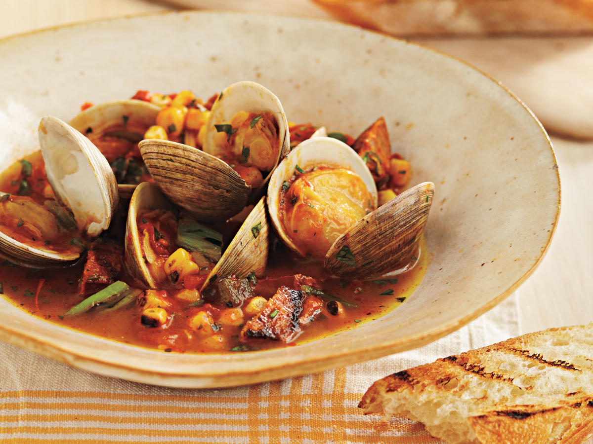 Grill-Braised Clams and Chorizo in Tomato-Saffron Broth