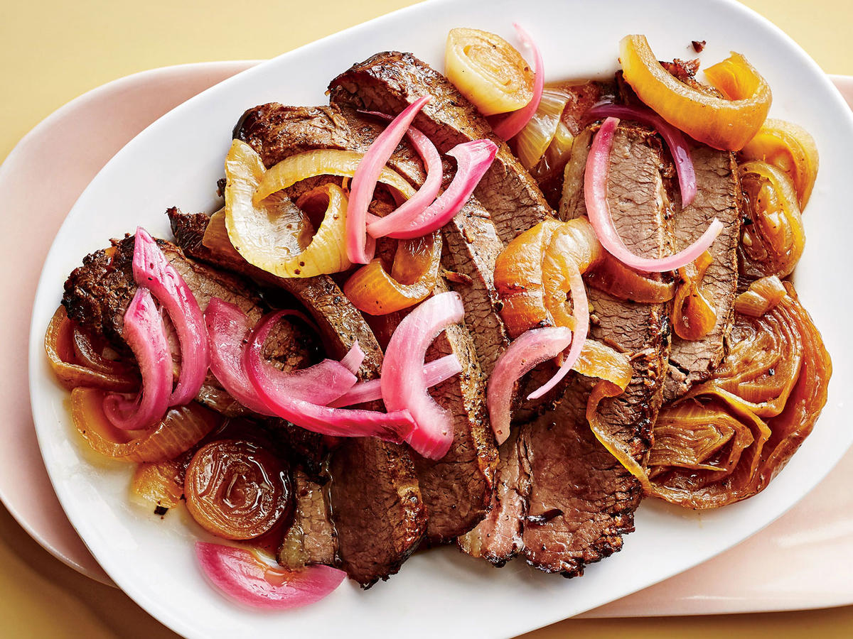 Brisket with Melted and Pickled Onions