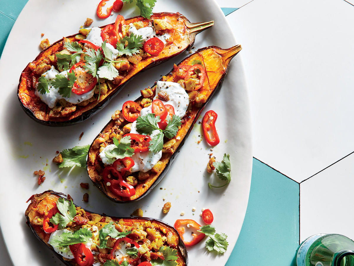 Harissa-Roasted Eggplant with Minced Chicken