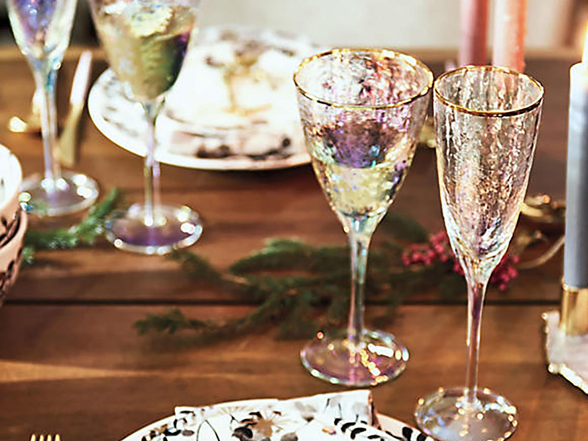 Anthropologie Opal Luster Wine Glasses