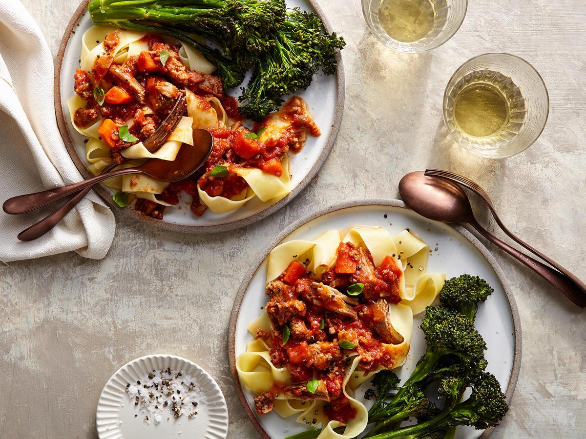 Harissa Spiked Sunday Sauce with Broccolini