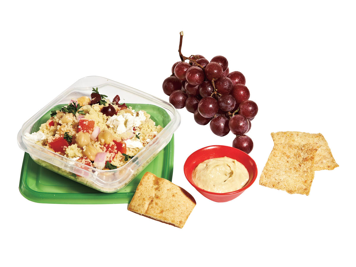 Couscous Salad + Hummus + Whole-Wheat Pita Chips + Grapes