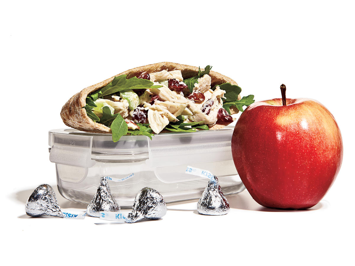 Chicken Salad Pita + Apple + Chocolate Kisses