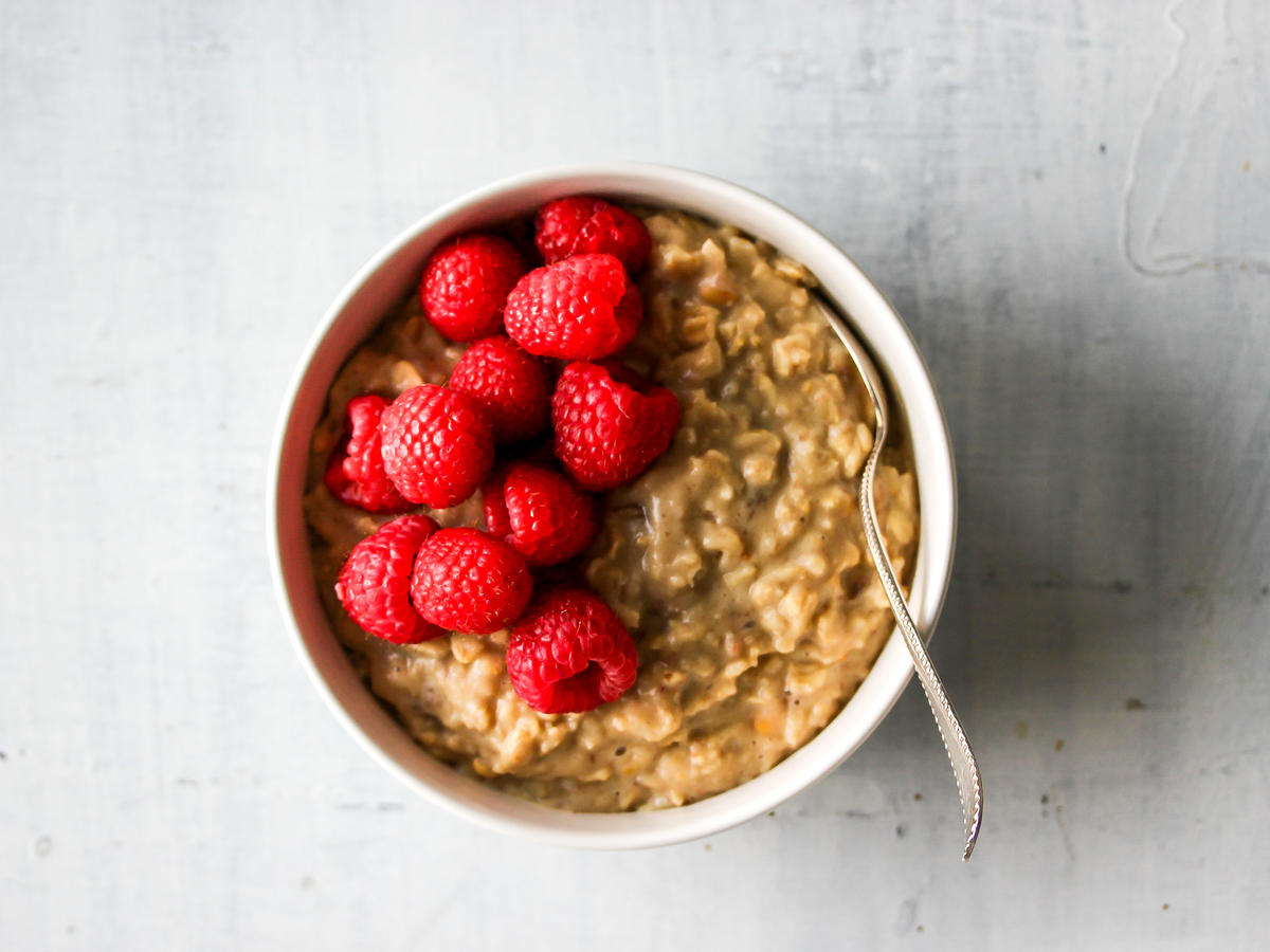 Peanut Butter Oatmeal with Raspberries