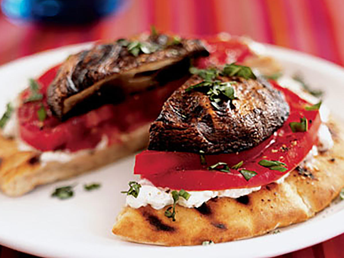 Grilled Portobello-Goat Cheese Pitas