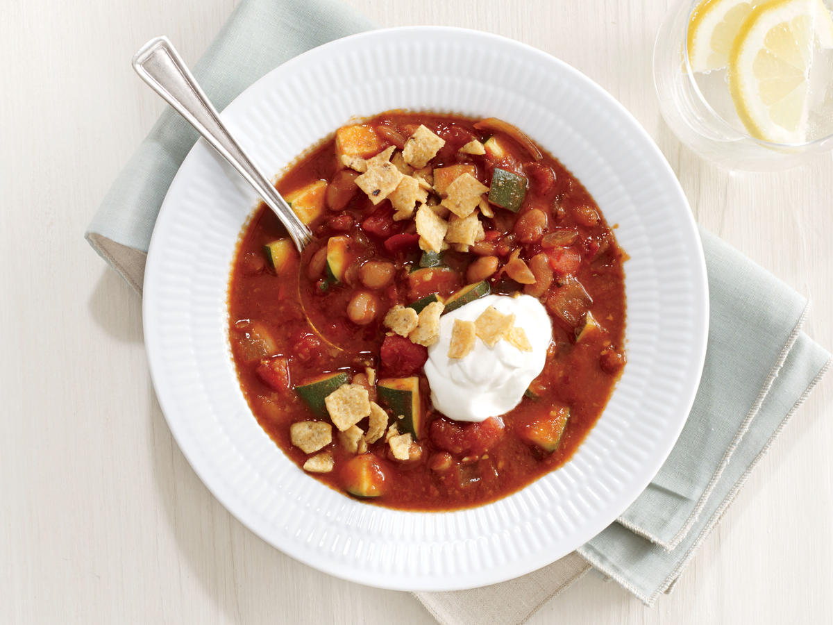 White Bean Chili with Corn Chip Crunch