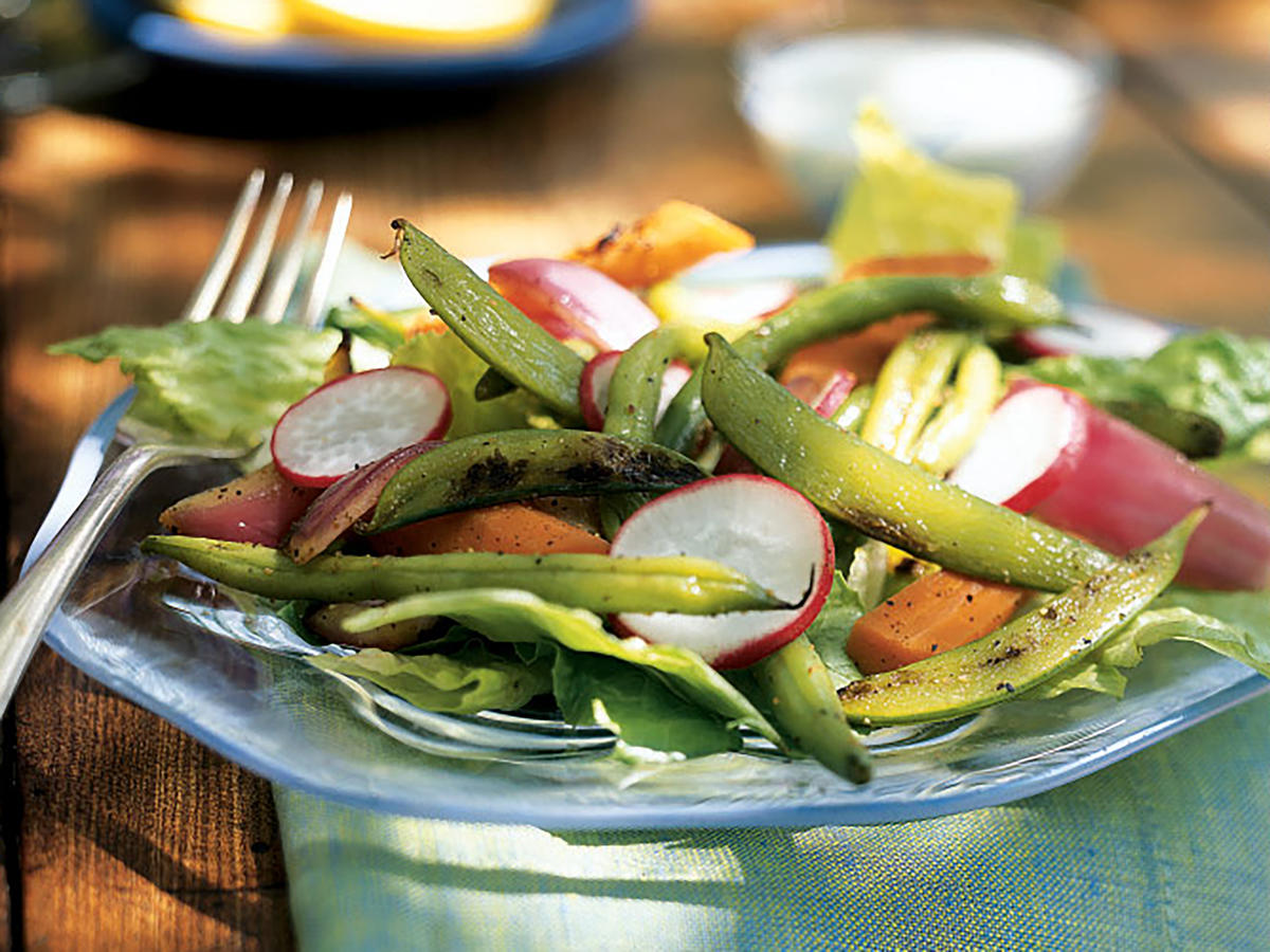 Easter Grilled Vegetable Salad with Creamy Blue Cheese Dressing Recipe