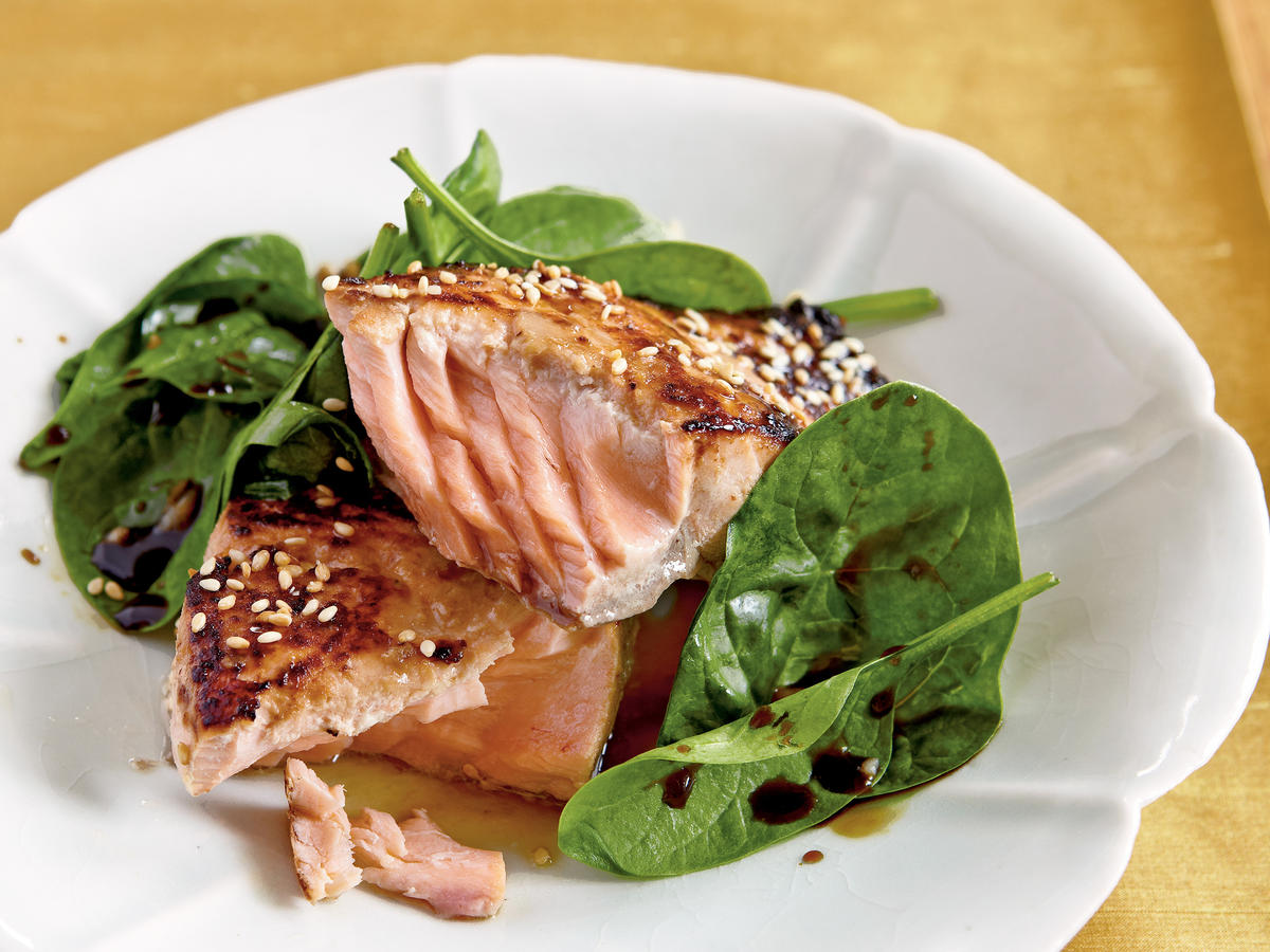 Miso-Glazed Salmon with Wilted Spinach
