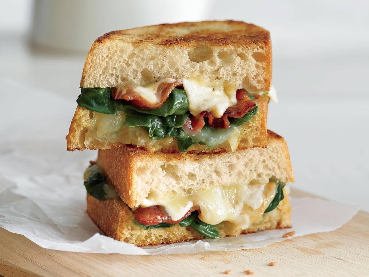 Garlicky Grilled Cheese and Bacon and Spinach