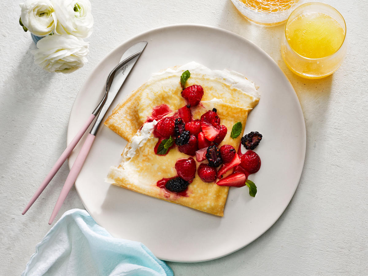 Tangy Mascarpone Crêpes and Honeyed Berries