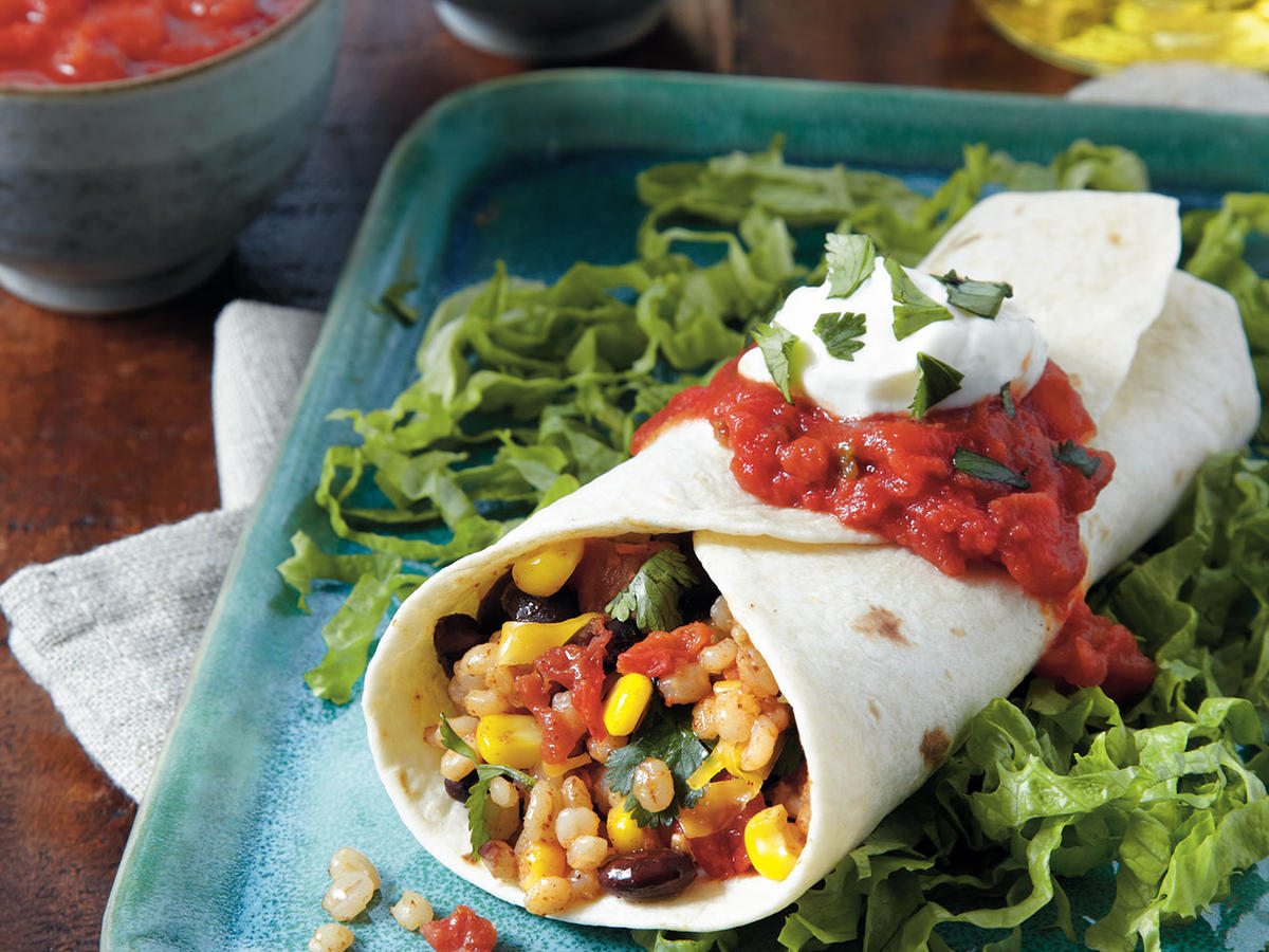 Barley, Black Bean, and Corn Burritos