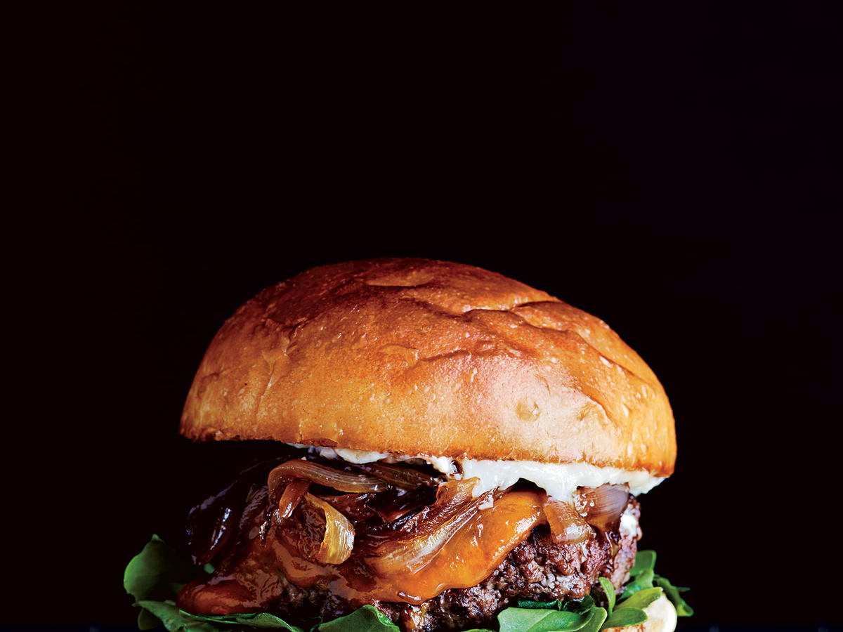 Cheddar Cheeseburgers with Caramelized Shallots
