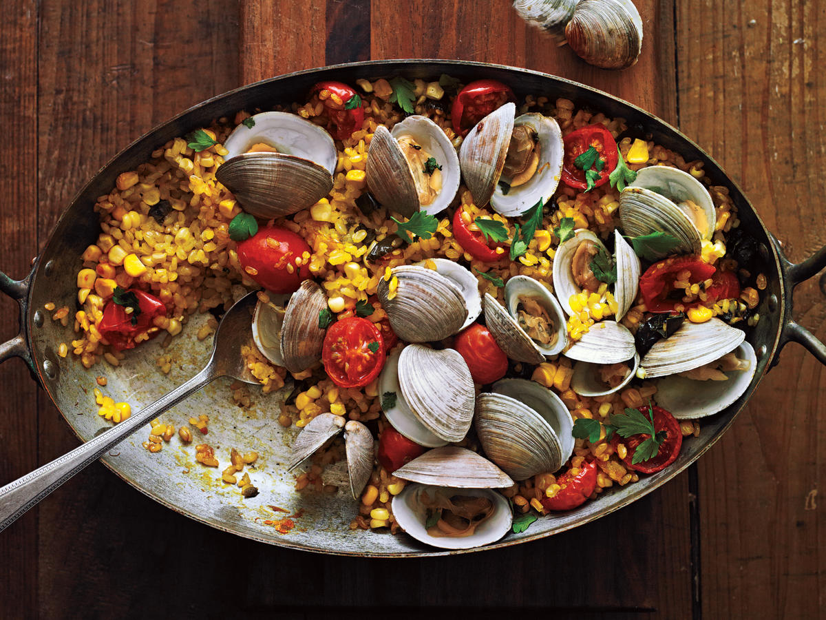Paella with Poblanos, Corn, and Clams Recipe