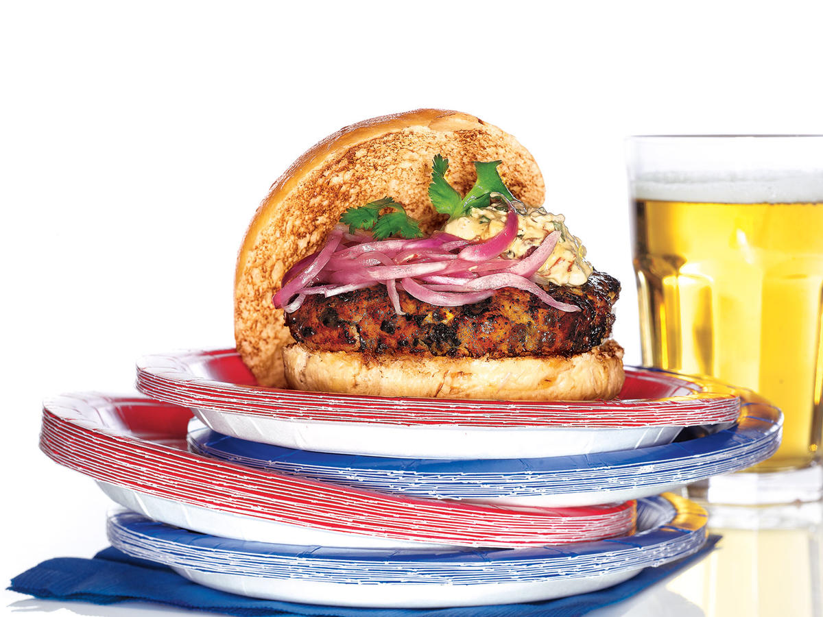 Spicy Poblano Burgers with Pickled Red Onions and Chipotle Cream Recipes