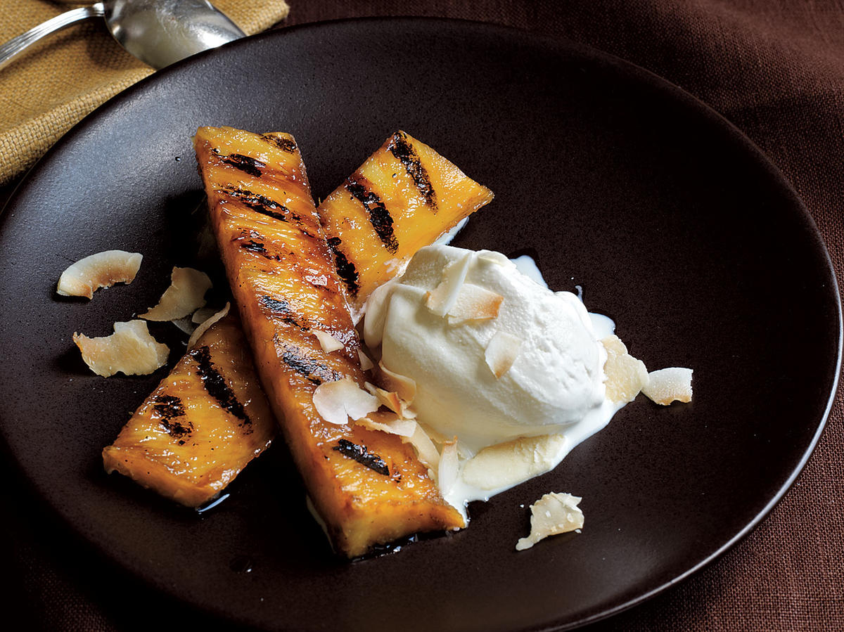Rum-Spiked Grilled Pineapple with Toasted Coconut recipe