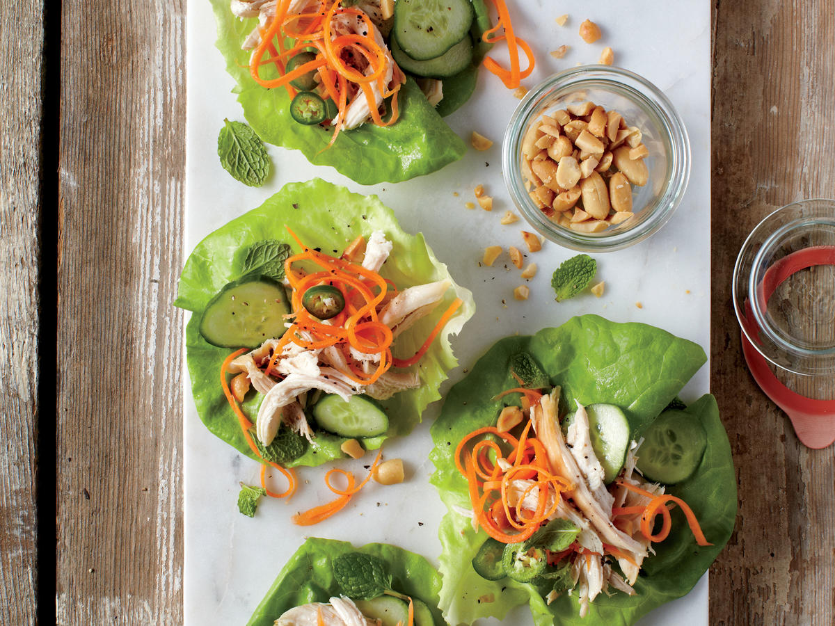 Spicy-Sweet Chicken Lettuce Cups