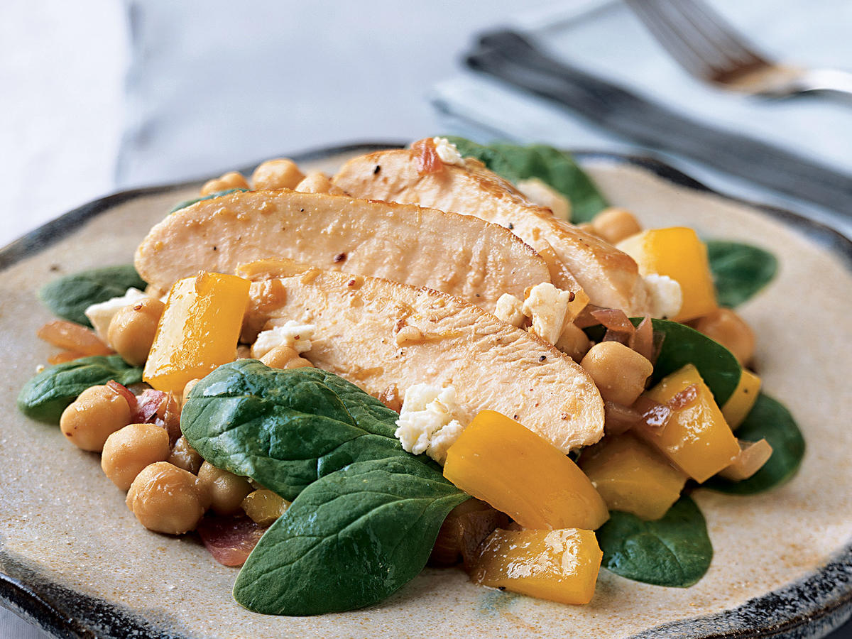Spinach, Chicken, and Feta Salad